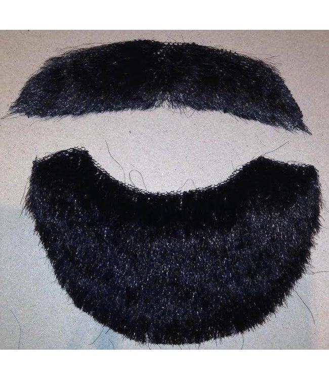 Beard And Moustache Human Hair Black by Costume Mates