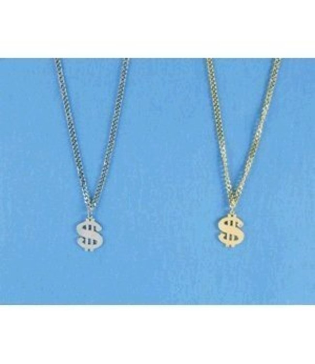 Silver Metal Dollar Sign Necklace by Costume Mates