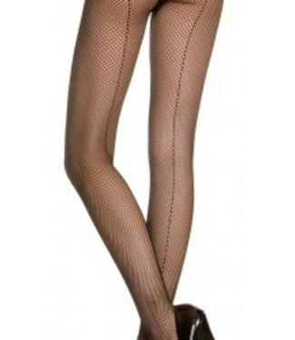 Fishnet Tights with Seam, Black by Music Legs