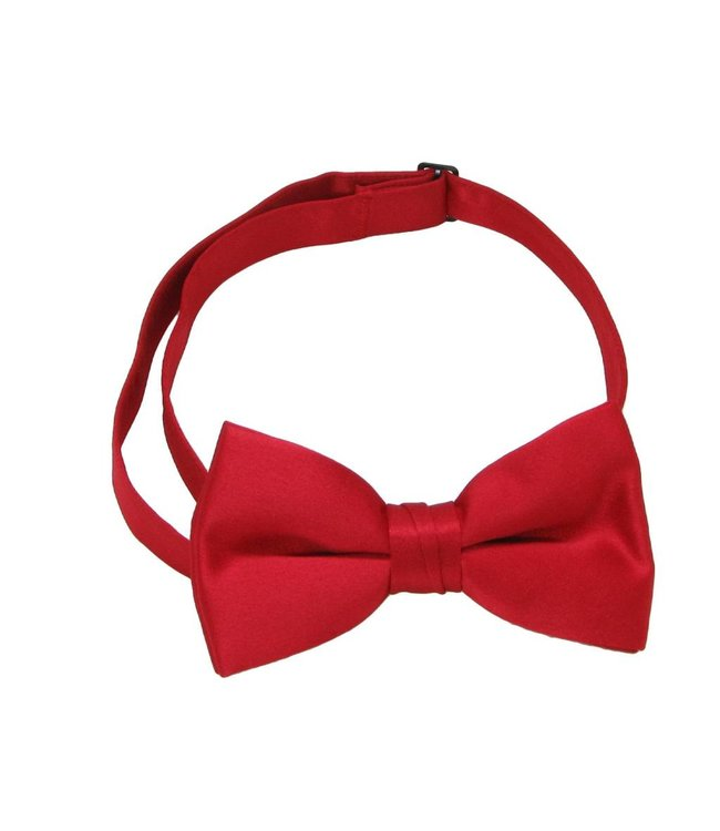 Bow Tie With Band - Red Satin