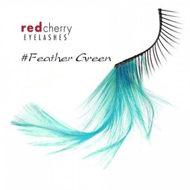 Red Cherry Eyelashes w/Feather Green FGRN