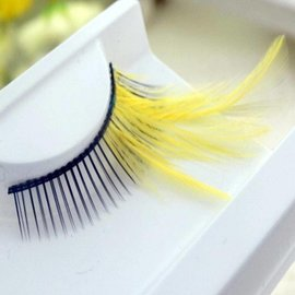 Red Cherry Eyelashes w/Feather Yellow FYLW