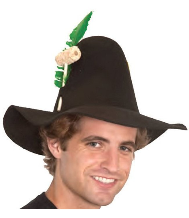 Hillbilly Hat with Feather and Pipe, Assorted Colors by Jacobson Hats