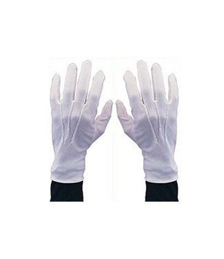 White Gloves With Snap Large