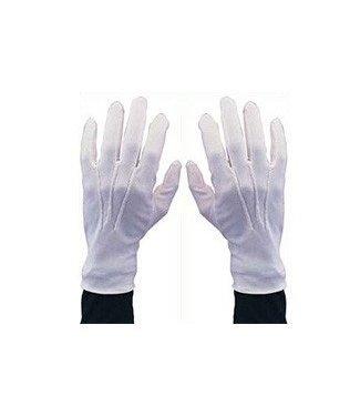 White Gloves With Snap Medium