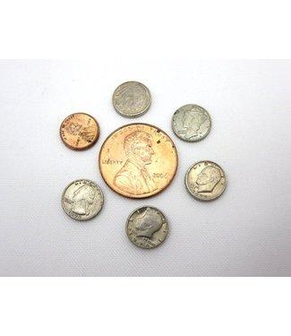 "Dozen Mini U.S. Coins - 3/8"" Dime - Coin (M10)"