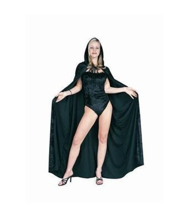 RG Costumes And Accessories 56 inch Black Velvet Hooded Cape