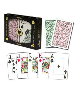Copag Copag 1546 Green and Burgundy Poker Size Jumbo Index Double Deck  (M5)
