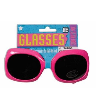 Forum Novelties 80's Neon Square Sunglasses - Pink
