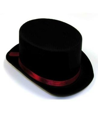 Forum Novelties Black Satin Top Hat w/Red Band