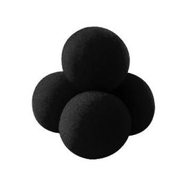1 1/2 inch 4 Super Soft Sponge Balls - Black (M13)