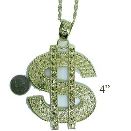Dollar Sign Necklace Gold by Accessory Label