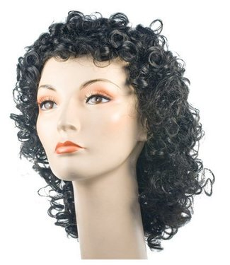 Morris Costumes and Lacey Fashions Fancy Bargain Curly Black Wig