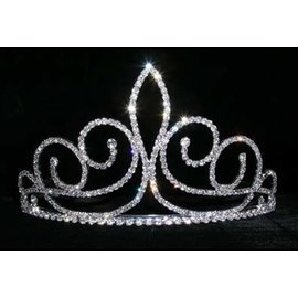 Fleur de Swirl Tiara - 3 1/4 Inches Tall Rhinestone Jewelry Corporatrion