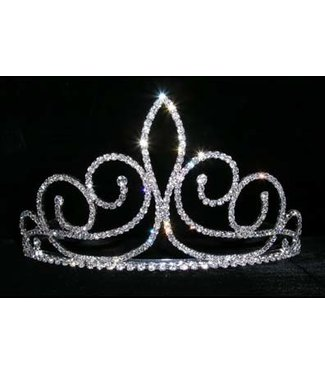 Fleur de Swirl Tiara - 3 1/4 Inches Tall Rhinestone Jewelry Corporatrion
