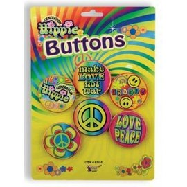 Forum Novelties Hippie 5 Piece Button Set