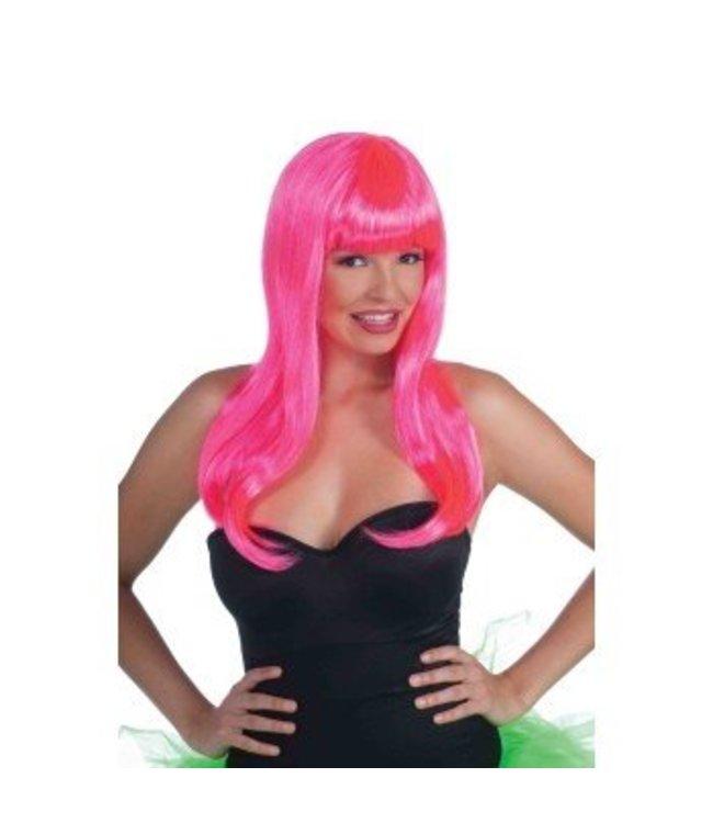 Forum Novelties Long Wig With Bangs - Neon Pink