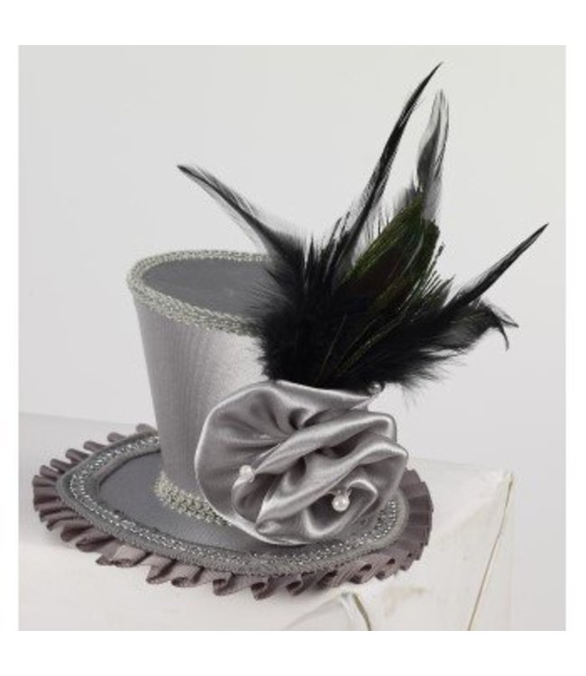 Forum Novelties Mini Top Hat With Rose - Grey