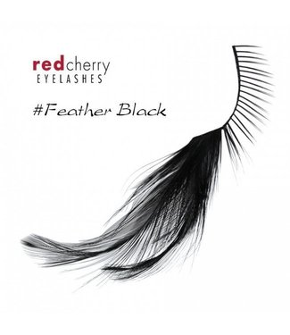 Red Cherry Eyelashes w/Feather Black FBlk
