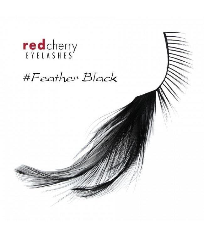 Red Cherry Eyelashes w/Feather Black FBlk