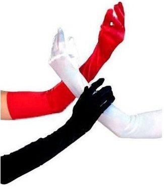 Gloves Black Shoulder Length Satin