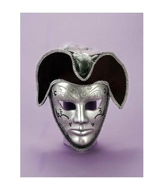Forum Novelties Silver Venetian Mask With Hat - Male MJ-190m