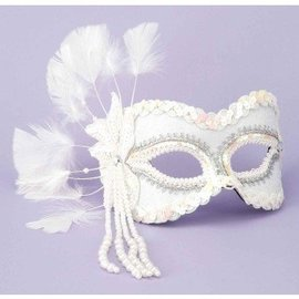 Forum Novelties White Venetian Mask Sequin & Pearls MJ-757