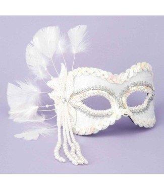Forum Novelties White Venetian Mask Sequin & Pearls MJ-757