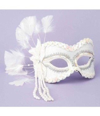 Forum Novelties White Venetian Mask Sequin with Pearls MJ-757