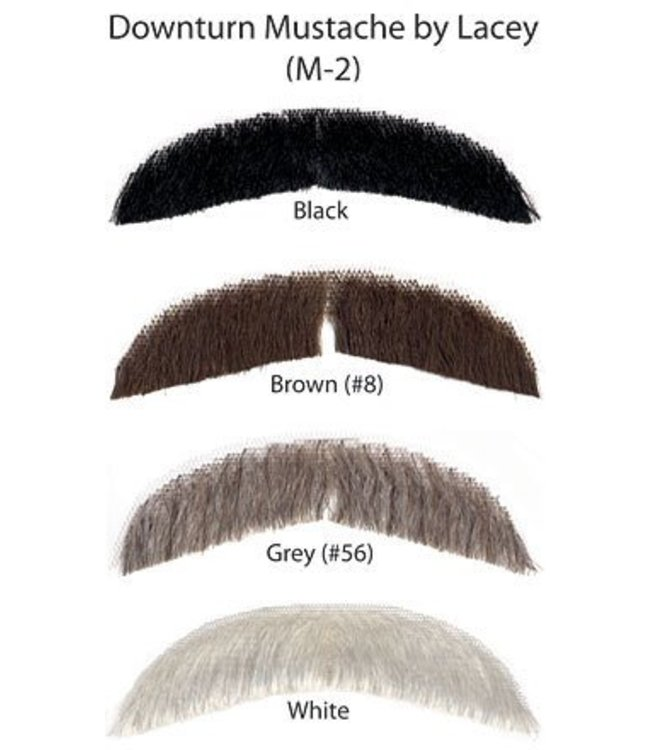Morris Costumes and Lacey Fashions Downturn White M2 Moustache Human Hair