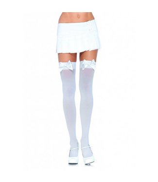 Leg Avenue White Opaque Thigh High With White Satin Bow