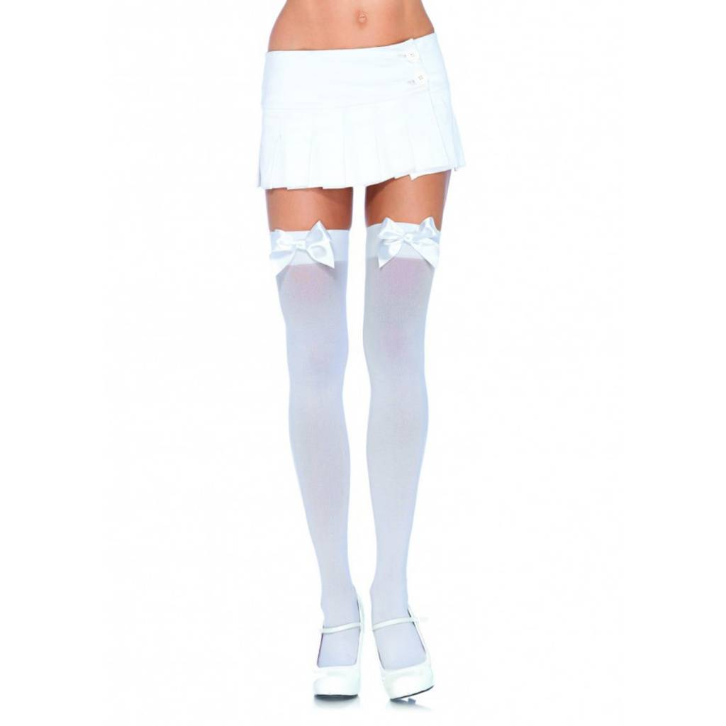 8e105b8be Leg Avenue White Opaque Thigh High With White Satin Bow - Ronjo Magic