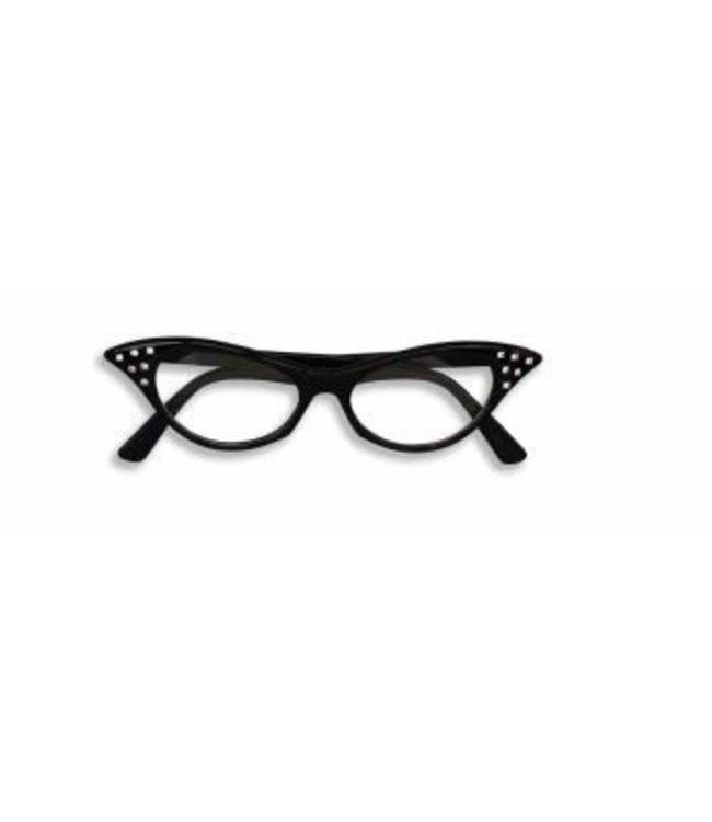 Forum Novelties 50's Rhinestone Eye Glasses - Black