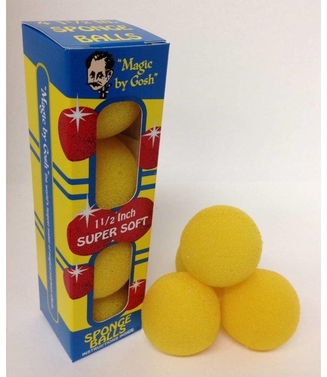 1 1/2 inch 4 Super Soft Sponge Balls - Yellow (M13)