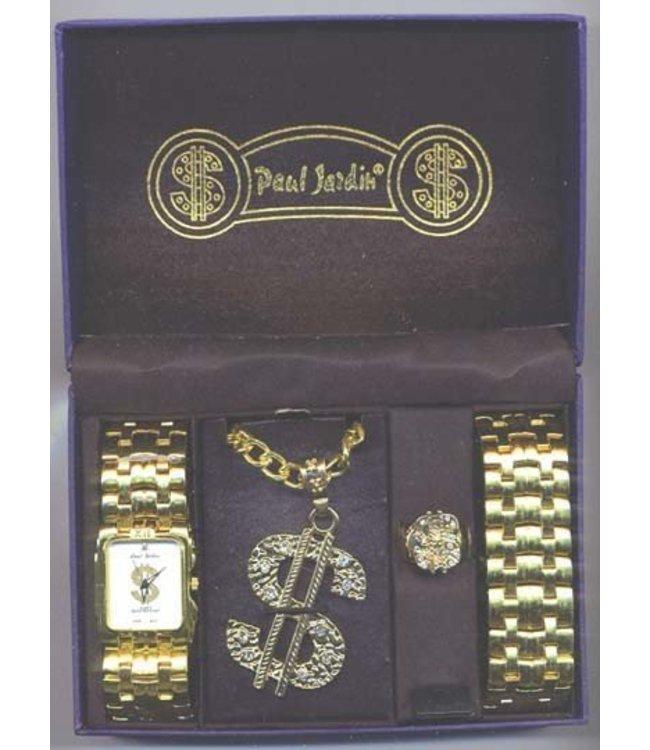Pimp Watch and Jewlery  Set - Silver
