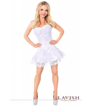 Corset Dress - Lavish White/Silver Lace - Medium by Daisy Corsets