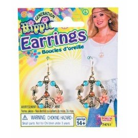 Forum Novelties Earrings, Peace Sign - Hippie by Forum
