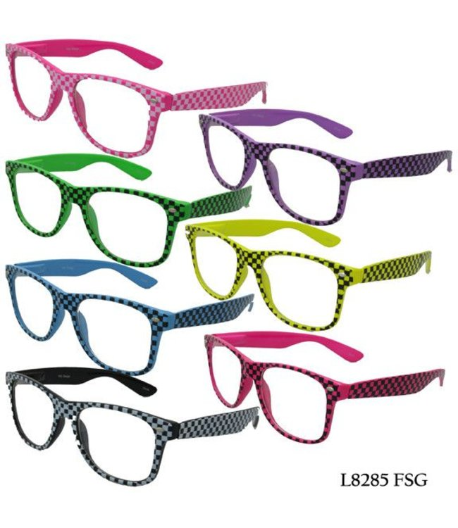 Glasses - Checkerboard Print (Assorted Colors)