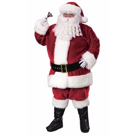 Fun World Crimson Plush Santa Suit - Plus 50-54