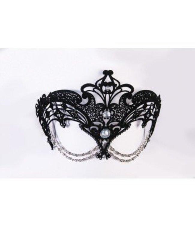 Forum Novelties Metal Filigree Eye Mask with Chain - Black