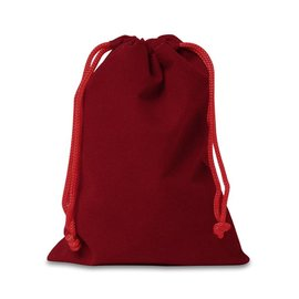 Velour Draw String Pouch, Red - 4 x 5 inches