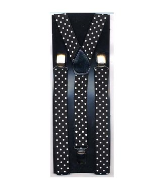 Suspenders, Black w/White Polka Dots