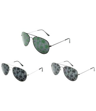 Aviator Sunglasses with Pot Leaves - Assorted Colors