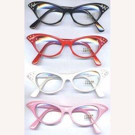 Sunglasses Cat Eye - White, Clear Lens w/Rhinestone