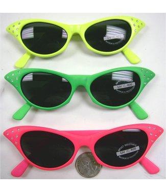 Sunglasses Cat Eye -  Pink, Dark Lens w/Rhinestone