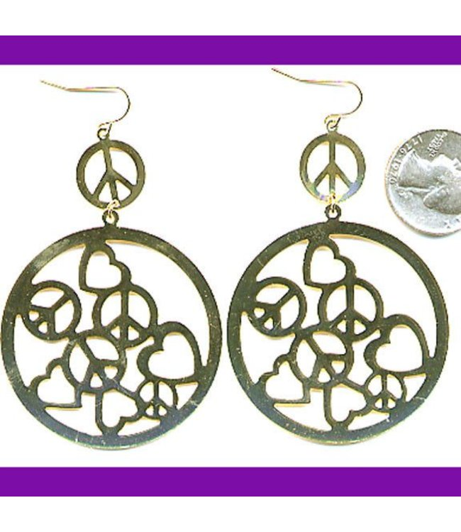 Earrings, Peace and Hearts In Circle by Fashion Jewelery