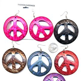 Earrings, Peace Sign Coconut Painted, Assorted Colors by Fashion Jewelry