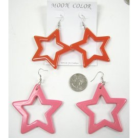 Earrings, Star Shape Plastic, Assorted Colors  - by Moon Color