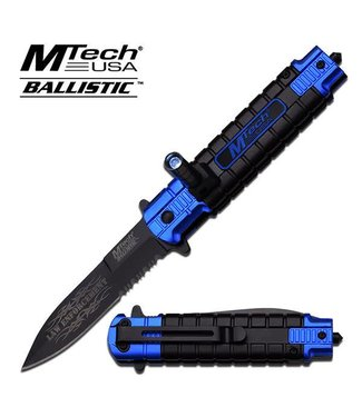 Knife - Knife Law Enforcement/LED SOS Rescue Spring Assist, Blue by MTech USA