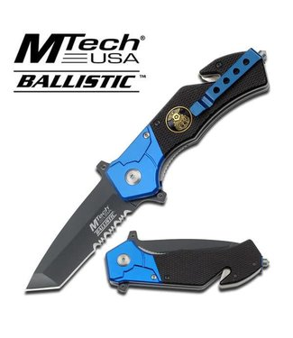 Knife - Police Rescue Folder Spring Assist 3 inch Tanto Blade Serrated, Blue Black by MTech USA